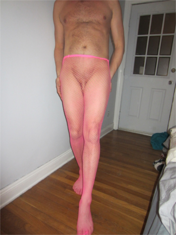 sissy in pink fish nets
