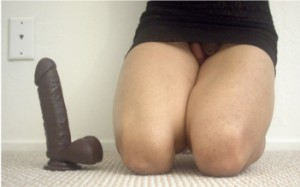 humiliated sissy and his new dildo